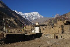 Τοπίο σε Manang, Νεπάλ Στοκ φωτογραφία με δικαίωμα ελεύθερης χρήσης