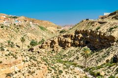 Τοπίο σε Toujane, ένα ορεινό χωριό Berber στη νότια Τυνησία Στοκ Εικόνες