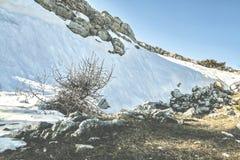 Τοπίο στις πέτρες βουνών, χιόνι, κάτω από το φωτεινό ήλιο, μέσα Στοκ φωτογραφία με δικαίωμα ελεύθερης χρήσης