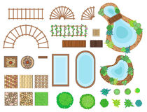Τοπίο, στοιχεία κήπων διανυσματική απεικόνιση