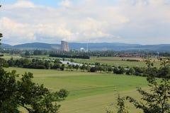 Τοπίο στο πυρηνικό σταθμό Grohnde Στοκ εικόνα με δικαίωμα ελεύθερης χρήσης