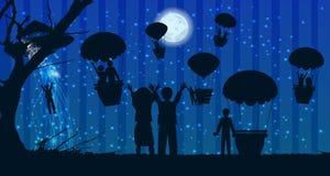 Τοπίο ταξιδιού σκιαγραφιών ανθρώπων απαγωγής UFOs διανυσματική απεικόνιση
