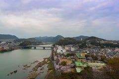 Τοπίο της άποψης πόλεων inuyama με τον ποταμό kiso Στοκ Εικόνα