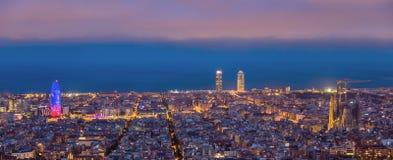 Τοπίο της Βαρκελώνης πανοραμικό στοκ εικόνα