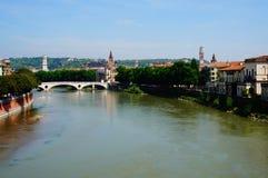 Τοπίο της Βερόνα Ποταμός Adige Στοκ Φωτογραφίες
