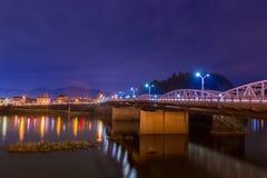 Τοπίο της γέφυρας με τον ποταμό kiso στη νύχτα Στοκ Εικόνες