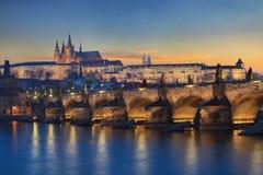 Τοπίο της γέφυρας του Charles στην Πράγα Στοκ φωτογραφίες με δικαίωμα ελεύθερης χρήσης