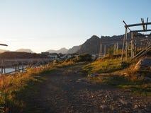 Τοπίο της λιμενικής Νορβηγίας Άσπρο βόρειο καλοκαίρι nigts Στοκ φωτογραφίες με δικαίωμα ελεύθερης χρήσης
