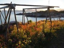 Τοπίο της λιμενικής Νορβηγίας Άσπρο βόρειο καλοκαίρι nigts Στοκ Εικόνες