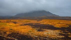 Τοπίο της Ισλανδίας, της ομίχλης και της βροχής Ένα ταξίδι σε μια μακρινή χώρα Στοκ Εικόνες