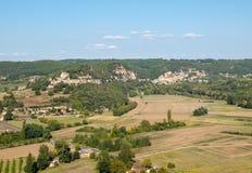 Τοπίο της κοιλάδας ποταμών Dordogne στον τομέα του Λα roque-Gageac, Aquitaine, στοκ εικόνα