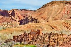 Τοπίο της κοιλάδας Dades στα υψηλά βουνά ατλάντων, Μαρόκο Στοκ Εικόνες