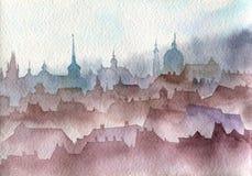 Τοπίο της Πράγας Watercolor Στοκ εικόνες με δικαίωμα ελεύθερης χρήσης