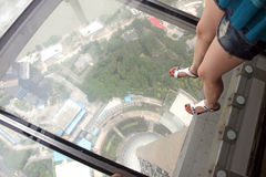 Τοπίο της Σαγκάη, άποψη από τον ασιατικό πύργο TV μαργαριταριών Στοκ Εικόνα