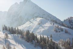 Τοπίο τοπίου σε αυστριακό Apls στο σκι τοπικό, τοπικό LAN χειμερινού χιονιού Στοκ Φωτογραφία