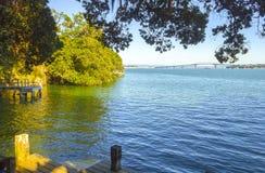 Τοπίο τοπίων από το μυστικό όρμο, σημείο του Stanley, Devonport, Ώκλαντ Νέα Ζηλανδία Στοκ Εικόνα