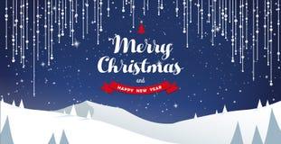Τοπίο τοπίων χειμερινών βουνών και κείμενο Χαρούμενα Χριστούγεννας Στοκ φωτογραφίες με δικαίωμα ελεύθερης χρήσης