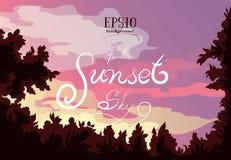 Τοπίο του δάσους, του ηλιοβασιλέματος, των σύννεφων και του όμορφου ουρανού διανυσματική απεικόνιση