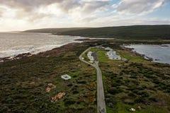 Τοπίο του ακρωτηρίου Leeuwin στη δυτική Αυστραλία που αντιμετωπίζεται από την κορυφή του φάρου Στοκ φωτογραφία με δικαίωμα ελεύθερης χρήσης