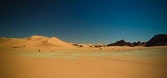 Τοπίο του αμμόλοφου άμμου και του γλυπτού φύσης ψαμμίτη σε Tamezguida στο εθνικό πάρκο Tassili nAjjer, Αλγερία Στοκ Εικόνες