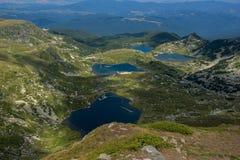 Τοπίο του διδύμου, Trefoil, του ματιού και των λιμνών ψαριών, οι επτά λίμνες Rila, Βουλγαρία Στοκ εικόνα με δικαίωμα ελεύθερης χρήσης