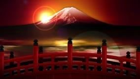 Τοπίο του κόκκινου σταυρού γεφυρών στο βουνό του Φούτζι Ιαπωνικός πολιτισμός Ζωτικότητα βρόχων CG ελεύθερη απεικόνιση δικαιώματος