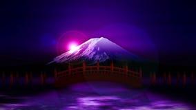 Τοπίο του κόκκινου σταυρού γεφυρών στο βουνό του Φούτζι Ιαπωνικός πολιτισμός Ζωτικότητα βρόχων CG απεικόνιση αποθεμάτων