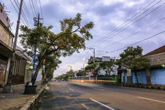 Τοπίο του κύριου δρόμου σε Purwokerto στοκ εικόνες