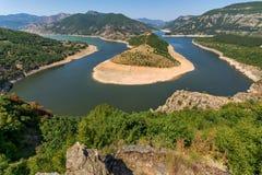 Τοπίο του μαιάνδρου ποταμών Arda και της δεξαμενής Kardzhali, Βουλγαρία Στοκ φωτογραφίες με δικαίωμα ελεύθερης χρήσης
