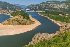 Τοπίο του μαιάνδρου ποταμών Arda και της δεξαμενής Kardzhali, Βουλγαρία Στοκ Εικόνες