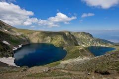 Τοπίο του ματιού και των λιμνών νεφρών, οι επτά λίμνες Rila, Βουλγαρία Στοκ φωτογραφία με δικαίωμα ελεύθερης χρήσης