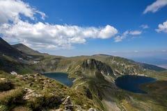 Τοπίο του ματιού και των λιμνών νεφρών, οι επτά λίμνες Rila, Βουλγαρία Στοκ Φωτογραφία