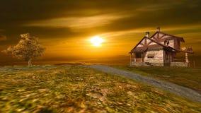τοπίο 12 του παλαιού σπιτιού στο τοπ βουνό με το χρυσό ηλιοβασίλεμα απεικόνιση αποθεμάτων