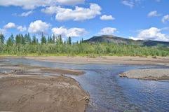 Τοπίο του ποταμού με τις αμμουδιές στοκ εικόνες με δικαίωμα ελεύθερης χρήσης