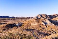 Τοπίο του Badlands στο επαρχιακό πάρκο δεινοσαύρων Στοκ εικόνες με δικαίωμα ελεύθερης χρήσης