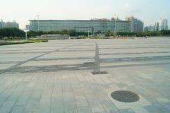 Τοπίο του plaza προκυμαιών Baoan και κτηρίου περιοχής Baoan του κυβερνητικού Στοκ Φωτογραφίες