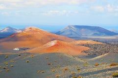 Τοπίο του vulcanic πάρκου Timanfaya σε Lanzarote στοκ εικόνες