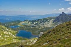 Τοπίο των ψαριών, του διδύμου και των Trefoil λιμνών, οι επτά λίμνες Rila, Βουλγαρία Στοκ Φωτογραφίες
