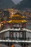 Τοπίο λυκόφατος της κωμόπολης του Phoenix (αρχαία πόλη Fenghuang) Στοκ φωτογραφίες με δικαίωμα ελεύθερης χρήσης