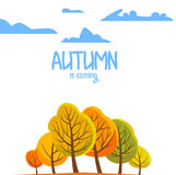 Τοπίο φθινοπώρου για το φυλλάδιό σας επίσης corel σύρετε το διάνυσμα απεικόνισης Στοκ Εικόνες