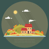 Τοπίο φθινοπώρου Λίγη οδός πόλεων με τα μικρά σπίτια και τα δέντρα Στοκ εικόνες με δικαίωμα ελεύθερης χρήσης