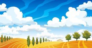 Τοπίο φθινοπώρου με το λιβάδι και τα δέντρα Διανυσματική απεικόνιση