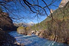 Τοπίο φθινοπώρου στο εθνικό πάρκο Ordesa, Πυρηναία, Huesca, Arag Στοκ Εικόνα