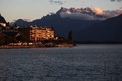 Τοπίο φθινοπώρου της λίμνης Γενεύη Στοκ Φωτογραφίες