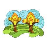 Τοπίο φθινοπώρου διανυσματική απεικόνιση