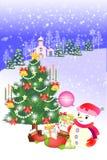 Τοπίο Χαρούμενα Χριστούγεννας με τα σπίτια, το δάσος και το χιονάνθρωπο - δημιουργική απεικόνιση eps10 διανυσματική απεικόνιση