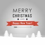 Τοπίο Χαρούμενα Χριστούγεννας Διανυσματική απεικόνιση