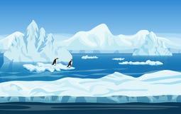 Τοπίο χειμερινού αρκτικό πάγου φύσης κινούμενων σχεδίων Στοκ Εικόνα