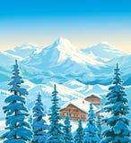 Τοπίο χειμερινών βουνών με τα σπίτια και fir-trees διανυσματική απεικόνιση
