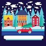 Τοπίο χειμερινών πόλεων με τα έλατα στο επίπεδο ύφος Στοκ Εικόνες